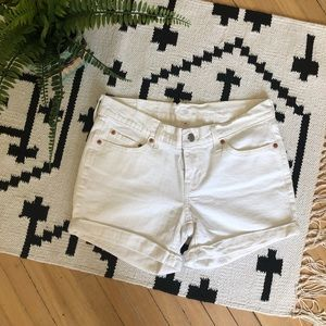 Levi's Shorts - Levi's White Denim Cuffed Shorts